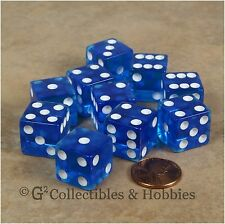 NEW 10 Transparent Blue w White Pips RPG Bunco Gaming Dice Set 16mm D6