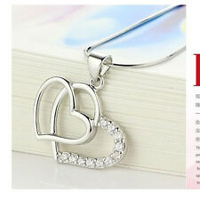 Love Heart Crystal Rhinestone Silver,Gold Alloy Chain Pendant Necklace her Gift