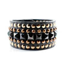 Impero London Luxury Handmade Black Leather Pyramid Helios Cuff Bracelet