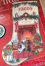 """Needle Treasures """"Almost Christmas Stocking"""" Dog & Cat Counted Cross Stitch Kit"""