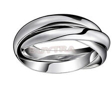 Living Up Sterling Silver Interlocking Triple Band Rolling Adjustable Ring FG