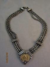 HUGE HM STERLING SILVER VTG ETRUSCAN TRIPLE CHAIN NECKLACE W/ 10KT YG FAUX COIN