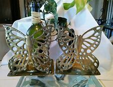 "Vintage Solid Brass Butterfly Bookends Hinged Folding Made in Hong Kong 5"" Tall"