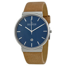 Skagen Ancher Blue Dial Tan Leather Mens Watch SKW6103