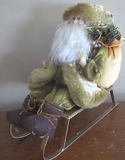 SANTA CLAUS resin FIGURINE green gold CHRISTMAS DOLL chartreuse SLED sleigh