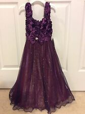 NWT Big Girls Holiday Formal Plum Sparkle Dress Size 14 Originally $58.00