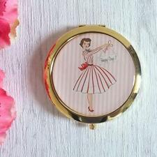 MRS SMITH Retro Style HAPPY DAYS Pink White COMPACT MIRROR Beauty Accessories