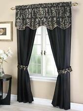 Luxury Argentina 2 Panel w attached valance window curtain COMPLETE SET blk