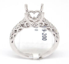 18k White Gold VS1-SI1 0.30tcw Pave Diamond Engagement Heart Semi Mount Ring,6.5
