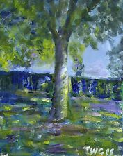 Terry George painting of tree in Heigham Park Norwich