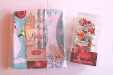 Oh What Fun! Christmas Holiday Snow Animals Fabric Shower Curtain & Hooks Set