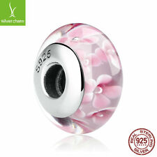 Lovely Pink Flower Pattern 925 Sterling Murano Thread Glass Beads Charms Jewelry