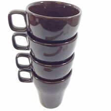 NEW PIER ONE STACKABLE SOLID BROWN COFFEE MUGS w/ SQUARE HANDLES 3.75""