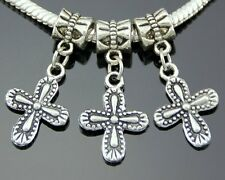 30pcs Tibetan Silver Cross Dangle Charms Fit European Bracelet ZY47