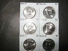 2011 2012 2013  P & D  KENNEDY HALF DOLLARS FROM MINT ROLLS (6 Coins)