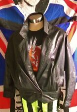 new retro style crop black leather jacket.size 12.X-over, 2stud waist button