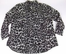 Style & Co Blouse Shirt 2X Brown Animal Print