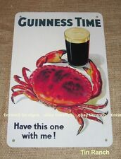 new VINTAGE GUINNESS TIN SIGN old 30s advertisement BEER Bar CRAB Ale Man Cave