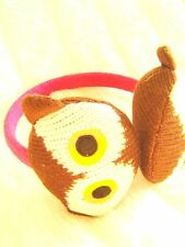 Pink Brown Knit fun animal Owl Face Ear Protector Muffs 7 yrs - Teens festival