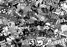 NEW STICKERBOMB SHEET @ A5 SIZE x1  BLACK & WHITE (FREE P&P!!) VW//DRIFT/JDM/