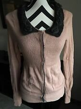 Anthropologie Field Flower Lattice Snap Front Pink Cardigan Size Small