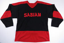 VTG 80S 90S SABIAN CYMBALS RED BLACK SPELL OUT HOCKEY JERSEY SHIRT DRUMS L EUC