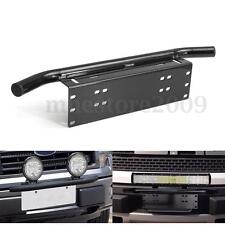 Black Bull Bar Front Bumper License Plate Mount Bracket Holder Offroad Light Bar