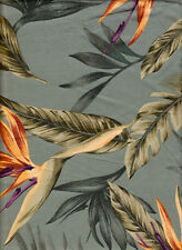Beautiful Bird of Paradise Flowers - Green - 100% Rayon Tropical Fabric BTY
