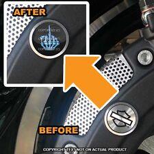 Brembo Front Brake Caliper Insert Set For Harley - SKULL FINGER FU BLUE - 082