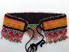ATS Tribal Fusion Belt Boho Chic Ethnic Dance  Bright Colorful Beaded Fringe 28""
