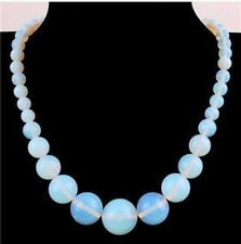 18inches Natural 6-14mm Opalite Gemstone Moonstone Round Beads Necklace