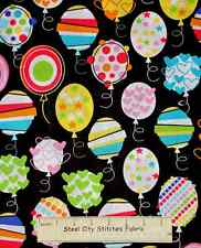 Timeless Treasures Balloon Birthday Party Toss C9673 Black Cotton Fabric YARD