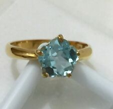 Yellow Gold Ring 18k 750 Fancy Flower Blue Topaz Gemstone US6 EXC  SWEET JAPAN