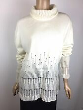 3.1 Phillip Lim New $495 Sz M White Drop Needle Mohair Turtleneck Sweater