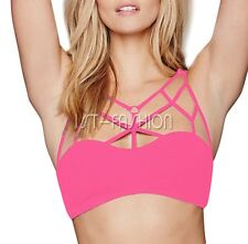 New Womens Ladies Seamless Crop Top Padded Bra Sports Yoga Gym Strappy Vest Tops