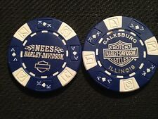 "Harley Davidson Poker Chip (Blue & White) ""Nees H-D"" Galesburg, Illinois"