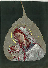 Holy card antique hoja pintada a mano de la Virgen santino image pieuse estampa