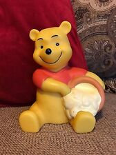 Vintage Winnie The Pooh & Hunny Pot Bank Money Coin With Stopper Disney Plastic