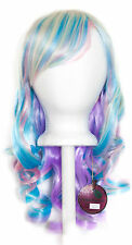 20'' Layered Loose Curly Cut w/ Long Bangs Pastel Rainbow Cosplay Wig NEW