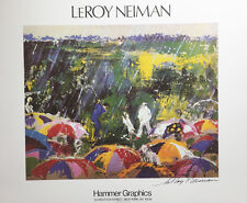 """LeRoy Neiman """"ARNIE IN THE RAIN""""  Augusta National Golf HAND SIGNED LITHOGRAPH"""