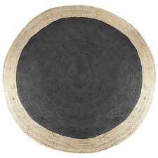 Round Jute Floor Rug - Natural Braided Flatweave Rug (120X120cm) Black