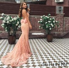 New Mermaid Backless Lace Formal Evening Pageant Dress Celebrity Party Prom Gown