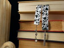 Pawprint Ribbon Bookmark for Cat Lovers Heart my Cat Charm, Hearts, and Tassel