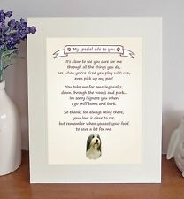 """Bearded Collie 10""""x8"""" Free Standing Thank You Poem Fun Novelty Gift FROM THE DOG"""