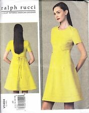 Vogue Designer Ralph Rucci Flared Empire Waist Mod Dress (6-14) Sewing Pattern
