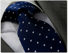 NUOVO stilista italiano Navy Blue & white polka dot silk tie