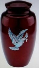 Mother of pearl inlay Red Dove adult memorial cremation urn 200 cubic Inches