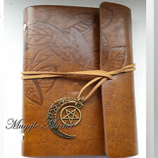 GAZZETTA Marrone LUNA Pentagramma Stella Charm, WITCH Magic COVER FOGLIA Marrone Diario