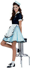 Womens Car Hop Waitress Costume 1950 50s Ice Cream Shop Diner Girl Ladies Adult