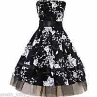 PRETTY KITTY FASHION BLACK FLORAL ROCKABILLY COCKTAIL PROM DRESS 8-20 *FREE POST
